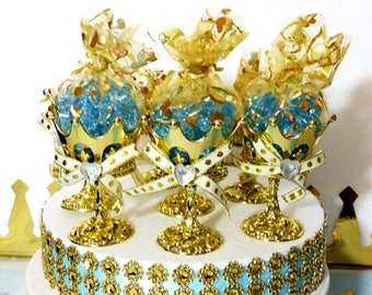 12 NEW Gold Favor Cups For Little Prince Baby Shower / Perfect For Baby  Blue And