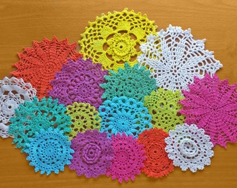 16 Colorful Doilies, Bright Colors, Hand Dyed Crochet Doilies, Crocheted Lace Medallions, Mandala Craft Doilies