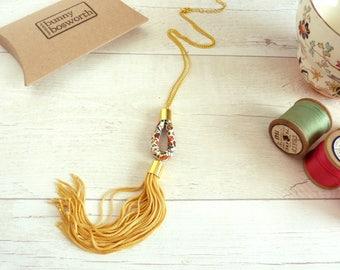 Long Tassel Pendant - Yellow Tassel Necklace - Liberty Floral Pendant - Yellow Fringe Necklace - Gift for Her - Bohemian Tassel Jewelry