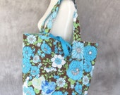 American Girl Doll Tote Bag Blue and Brown Floral