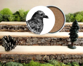 Crow Coaster Set - American Crow Home Decor - Gift for Animal Lover or Outdoorsman Guy Gift - Cork-Bottom Coaster Set