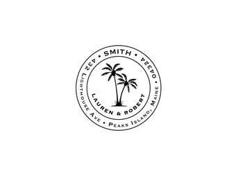 Tropical Housewarming Anniversary Wedding Gift Seaside Personalized Custom Return Address Rubber Stamp or Circle Beach Palm Tree