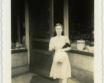 "Vintage Photo ""Getting Off Work"" Snapshot Antique Black & White Photograph Found Paper Ephemera Vernacular Interior Design Mood - 127"