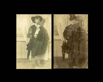 "2pc Vintage RPPC Postcards ""Lost Characters"" Antique Black & White Photograph Found Paper Ephemera Vernacular Interior Design - 51"