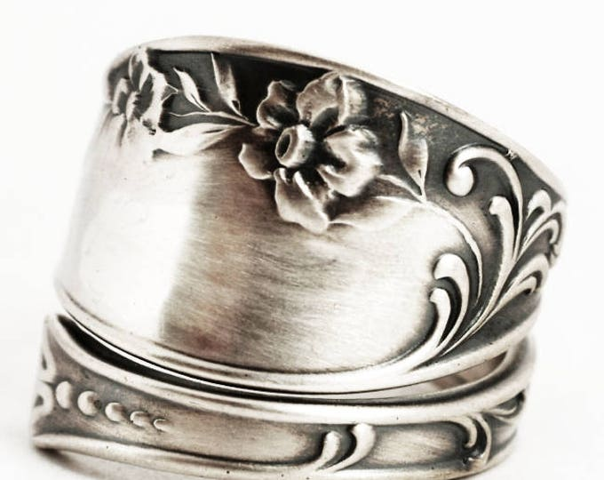 Daffodil Ring, Antique Sterling Silver Spoon Ring, Narcissus Flower Ring Gift, 925 Gorham Silver Oxford ca 1895, Adjustable Ring Size (6083)