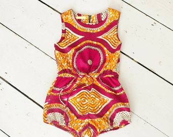 African Print girl's playsuit, ankara kids romper, bright kids playsuit, girl's bodysuit, african kidswear, summer playsuit