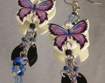Purple Butterfly Dangle Earrings - Colorful jewelry - Colorful Butterflies Jewellery