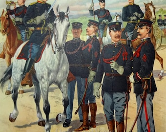 U.S. Army Field Artillery Officers & Enlisted Men Uniforms c1902 by H.A. Ogden, Vintage 1959 Large 12x16 Art Print, FREE SHIPPING
