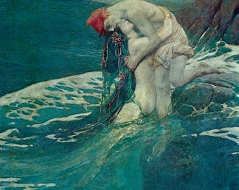 The Mermaid by Howard Pyle, Vintage 1975 9x11 Color Book Art Print, Beautiful Sea Creature, FREE SHIPPING