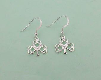 Celtic Shamrock Irish Clover Earrings Sterling Silver Pendant French Hooks
