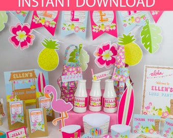 hawaiian Party Collection DIY Printable Kit - INSTANT DOWNLOAD