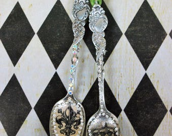 Vintage spoon ornaments , R hinestone ornament, Shabby chic spoon ornament,Silver spoon ornament,