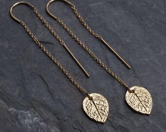 Gold Ear Thread Earring - Leaf Threader Earrings - Minimal Jewelry - Long Gold Dangle Earring - Minimalist Jewelry - Forest Wedding Jewelry