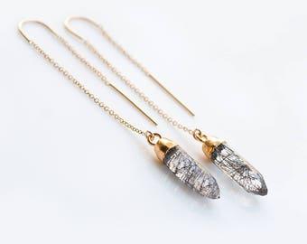 Tourmalated Quartz Threaders, Gold Gemstone Earrings, Spike Ear Threader, Minimalist Jewelry, Dainty Dangle Earrings, Gift for Her, Simple