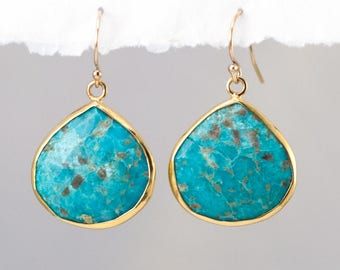 Natural Turquoise Earrings, Boho Earrings, Drop Earrings Gold, Gemstone Earrings, Gift for Her, Turquoise Dangle Earrings, Jewelry Trends