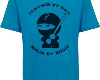 Back to School Ninja Shirt, Teacher by Day Ninja By Night, Student By Day Ninja By Night, Ninja Canvas Book Bag, Personalized Teacher Teams