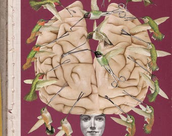 93. Brain Surgery Original Collage #100daysofpaperheads #the100dayproject