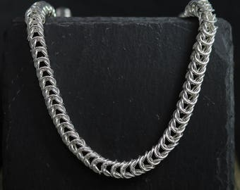 Sterling Silver Queens Chain, Maille Chain, Handmade Chain Link Necklace, 17.5 Inch Necklace, 7mm, Ready to Ship