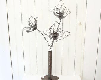 Wire Art Rusty Flower Bouquet Sculpture in Industrial Iron Salvage