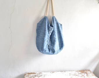 Tote in Chambray Denim Canvas XXL. Pale Blue .  Rope Strap.  One of a kind and Ready to Ship
