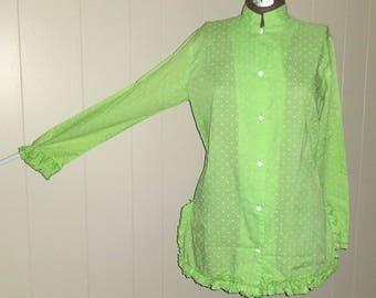 Honeydew ... Vintage 60s blouse / swiss polka dot ruffle / Mandarin Nehru button up / mad men housewife ... M L