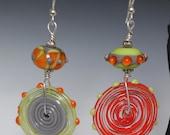 Beautiful Asymmetrical Colorful Orange Lime Green Gray Lampworking Sterling Silver Earrings