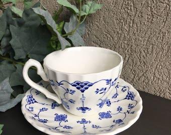 Vintage Myott Finlandia Cup & Saucer Teacup Set / Scalloped Blue White - #J2114