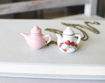 Tea Lovers Necklace - Teapot Jewelry - Tea Party Favor - Teapot Necklace - Tea Party Bridal Shower - Tea Lover Gift - Long Chain Necklace