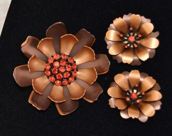 Vintage Brooch and Clip-On Earring Set of Brown and Copper Metal Flowers with Rhinestones