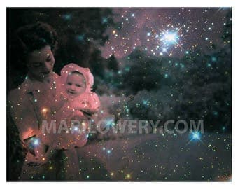 Nursery Wall Decor, Space Art, Mother and Child 11 x 8.5 Collage Art Print, Green and Pink, Surreal Collage Art. Mother's Day Gift