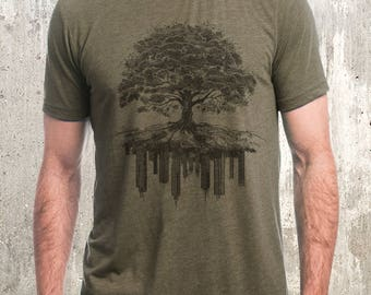 Men's T-Shirt - Tree and Crumbling City