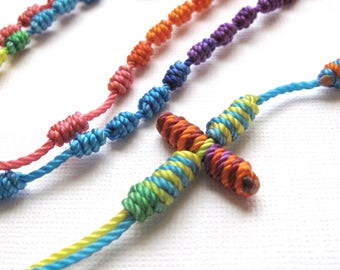 Knotted Rosary•Kid's Cord Rosary•Colorful Twine Rosary Necklace•Catholic Gift•Teen Rosary•Confirmation•First Communion•KN0025•OURLADYBeads