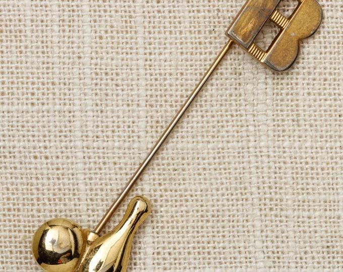 Gold Novelty Bowling Stick Pin Letter B Vintage Stickpin 7RT