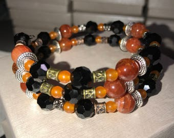 Hand-crafted Black and Orange Memory Wire Bracelet