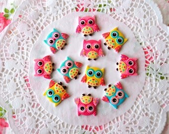 Resin Owl Cabochon 4 pcs, Resin Owl, Owl Cabochon, Owl Embellishment, Mixed Color Set, Owl, Flatback Owl
