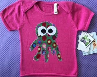 Organic Octopus knit short sleeve  6-12 mo