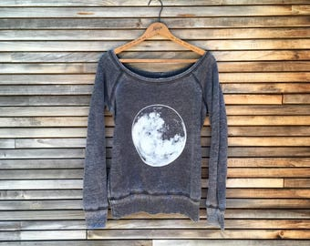 The Campfire Top, Off Shoulder Top, Moon Shirt, Yoga Pullover, Camping Sweater, S,M,L,XL
