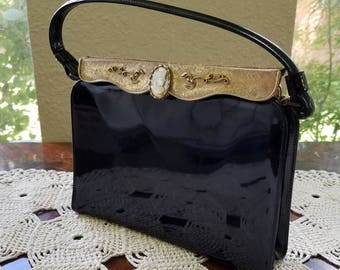 Great Vintage After Five Black Patent with Gold Trim & Shell Cameo Formal Handbag Purse/Hand Bag/Evening Bag for Cocktail Party