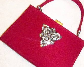 Purse Red Evening Vintage Gray Rhinestone Brooch Bridal Party Gift Restyled Assemblage Handbag