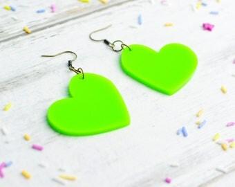 Statement Heart Earrings | Large Dangle Earrings | Pantone Greenery | Laser Cut Jewellery | Nickel Free