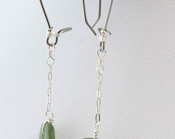 Sea Glass Earrings,  Beach Glass Earrings, Authentic Sea Glass, Silver Earrings, Dangle Earrings, White Sea Glass, Seaglass Earrings