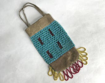 Eastern Plateau Leather & Seed Bead Pouch