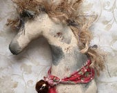 primitive horse bowl filler-spotted horse-horse ornaments-farmhouse decor-ranch decor-primitive pony-primitive animals-horse lovers