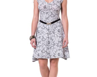 Lace summer dress Lase print dress Knee length dress Lase midi dress V neck dress