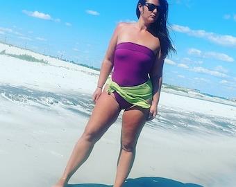 One Wrap Medium Bathing Suit Wrap Around Swimsuit Light Purple and Pear One Piece Swimwear Badeanzug traje de baño Misses Swimsuit hisOpal