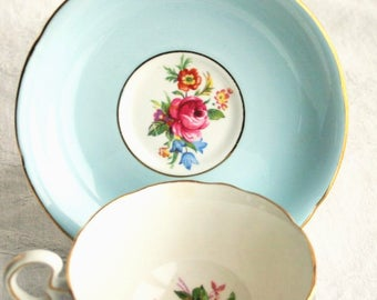 Pastel baby blue English bone china teacup and saucer set / collectible Royal Grafton vintage / cottage chic kitchen