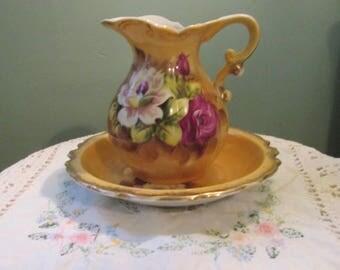 Vintage 1950s Arnart Creations Mini Pitcher And Basin Porcelain Creamer Gravy Boat