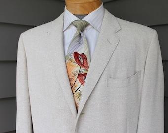 vintage 1950's -Palm Beach- Men's sportcoat. Tropical wool blend 'Resortweave'. 3 button - Darted front. Sz 44 Regular plus
