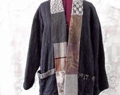 Sale Unisex Black Quilted Kimono Jacket. #KheGreen