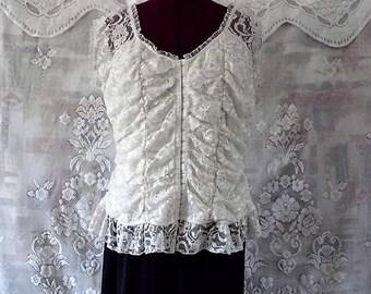 Romantic White Lace Bustier Style Top Plus Size